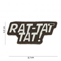 "Patch 3D PVC ""Rat tat tat"" brun avec velcro, 101 Inc"