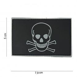"""Patch 3D PVC """"Skull and Bones"""" noir avec velcro, 101 Inc"""