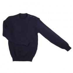 Pull Breton en laine bleu avec boutons, 101 Inc